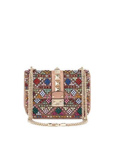 Lock Beaded Small Shoulder Bag