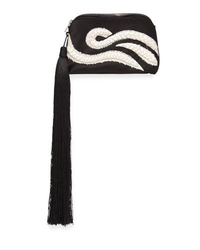 Tassel Braided Mini Wristlet Bag