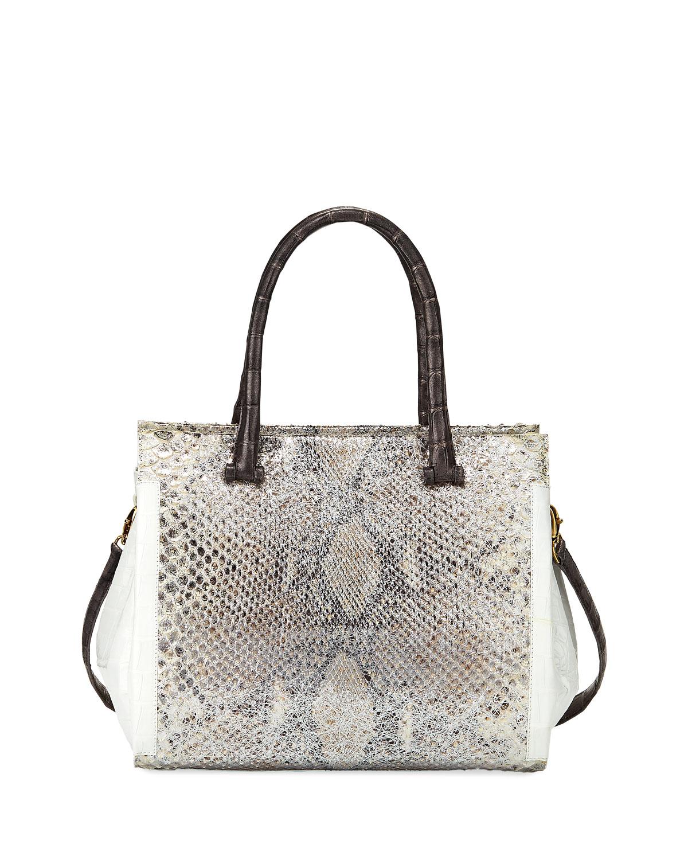 Medium Python and Crocodile Tote Bag, Gray