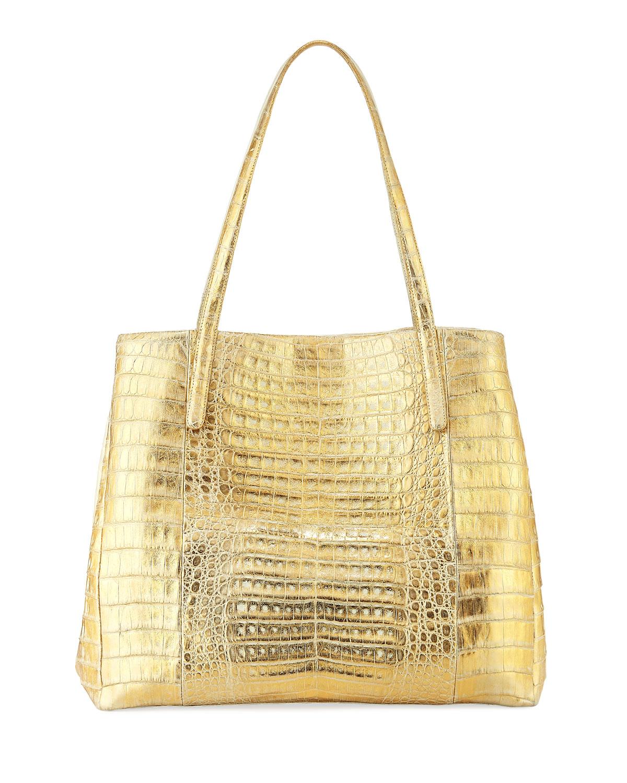 Large Metallic Crocodile Shoulder Tote Bag