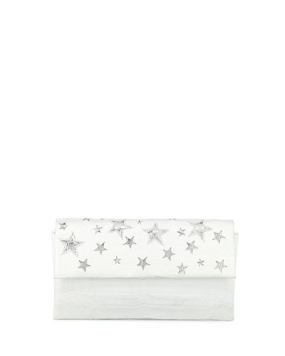 Star Flap Crocodile Clutch Bag
