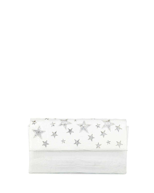 Star Flap Crocodile Clutch Bag