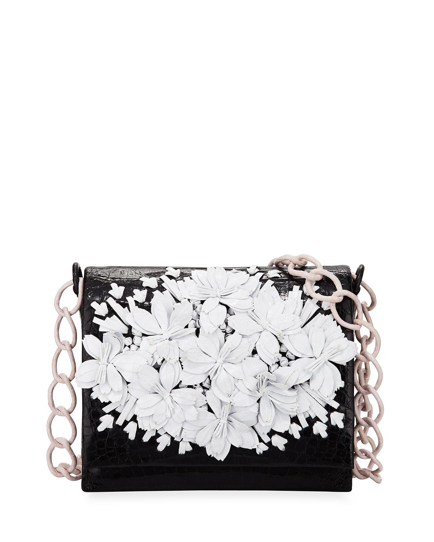 Floral Crocodile Crossbody Bag