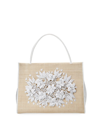 Flower-Embellished Straw Top-Handle Bag