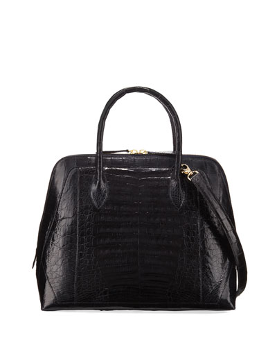 Medium Dome Crocodile Satchel Bag