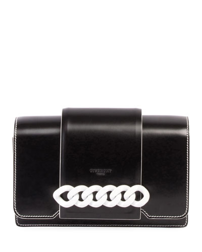 Infinity Small Flap Crossbody Bag, Black/White