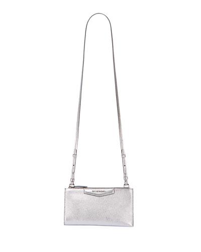 Antigona Medium Metallic Leather Crossbody Pouch Bag