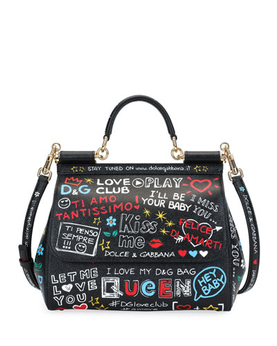 Medium Sicily Graffiti Print Leather Satchel - Black, Black Pattern