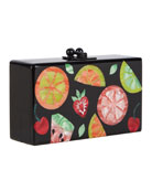 Jean Fruit Cocktail Frame Clutch Bag, Black