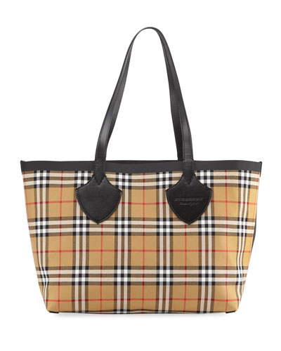 Reversible Canvas Check Medium Tote Bag