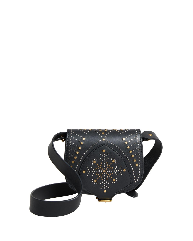 Studded Mini Leather Satchel Bag, Black