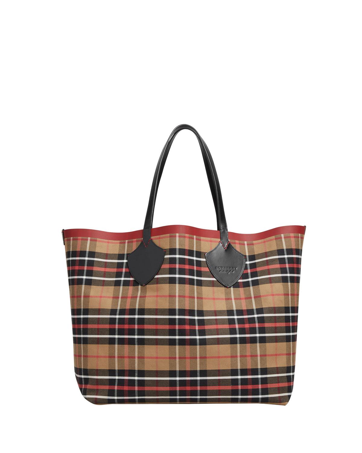 Reversible Check-Print Tote Bag, Multi