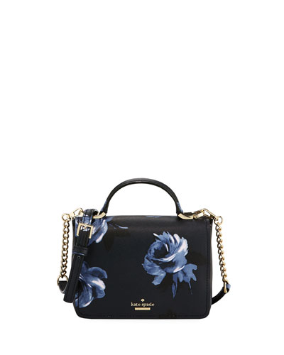 hope rose-print leather shoulder bag, rich navy