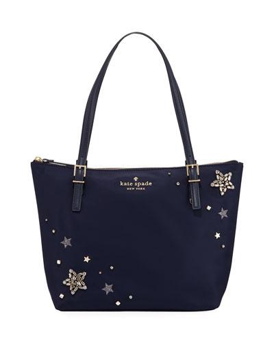 maya small nylon stars embellished tote bag