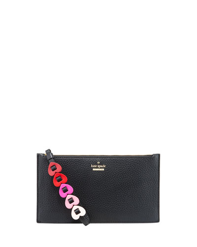 ariah leather heart pouch wristlet bag
