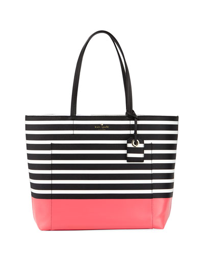 riley two-toned striped tote bag, peaches herb