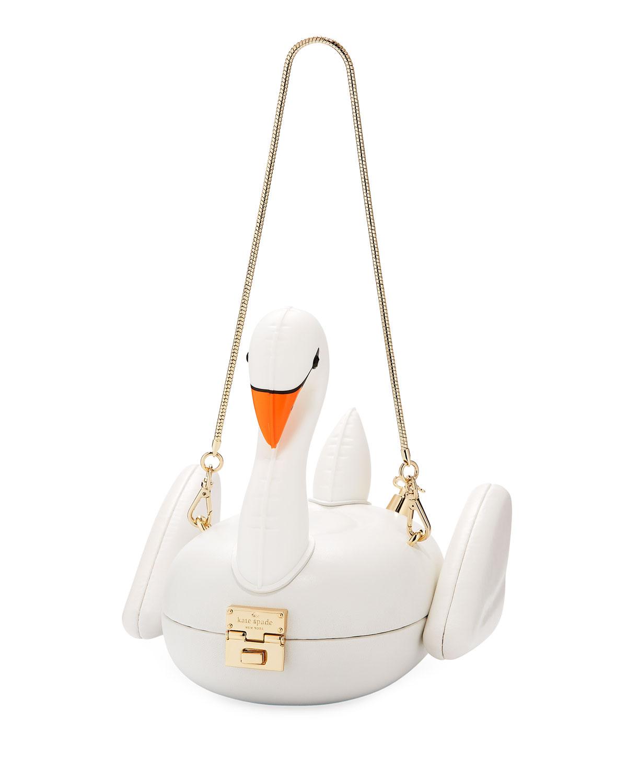 3D swan pool float clutch bag