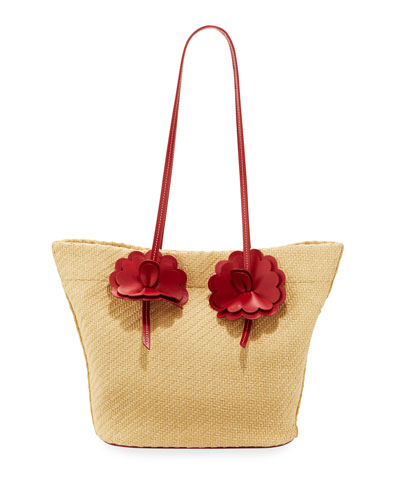 Straw Tote Bag with Flowers