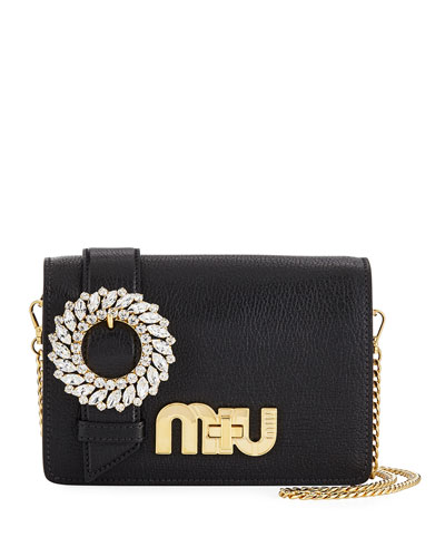 My Miu Small Madras Jeweled Clutch Bag