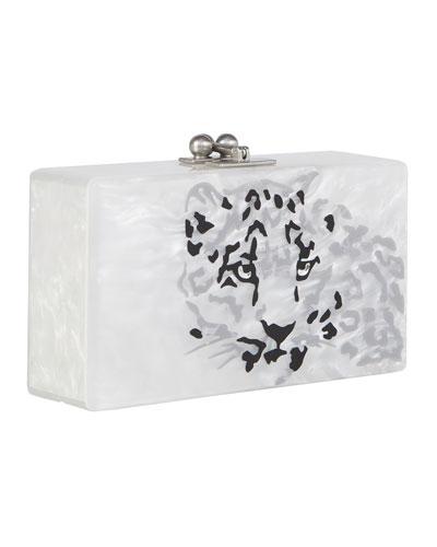 Jean Leopard Acrylic Clutch Bag, White