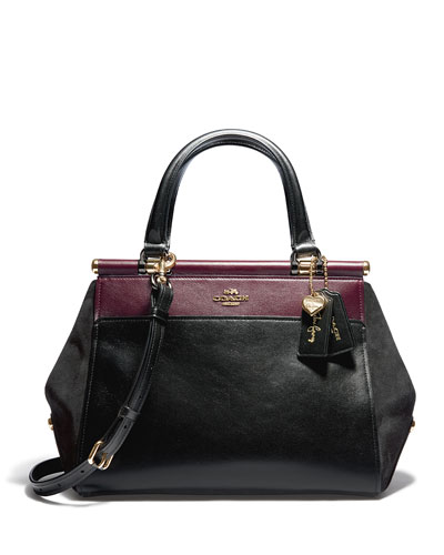 Selena Grace Colorblock Mixed Leather Satchel Bag