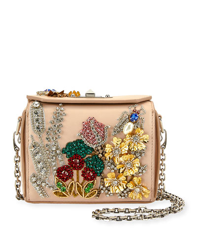 Nano Box Embroidered Leather Crossbody Bag