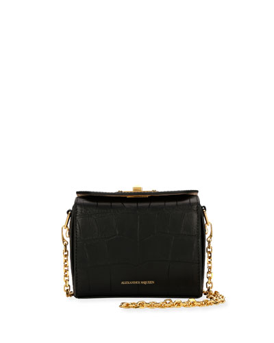 Nano Box Crocodile-Embossed Crossbody Bag w/ Golden Hardware