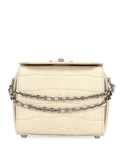Nano Box Crocodile-Embossed Crossbody Bag