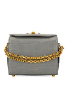 Box 19 Crocodile-Embossed Crossbody Bag