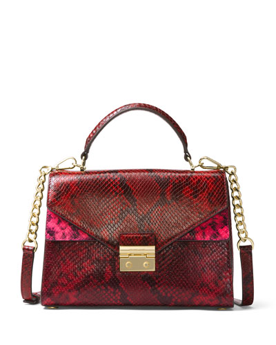 Sloan Small  Python-Embossed Satchel Bag