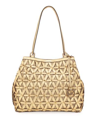 Brooklyn XL Metallic Shoulder Bag, Gold