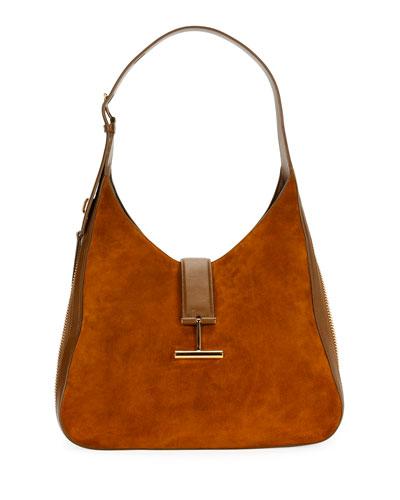 Tara Suede/Leather Shoulder Hobo Bag