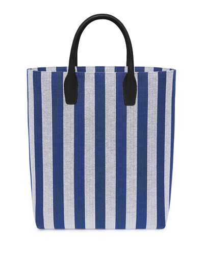 North South Striped Canvas Tote Bag