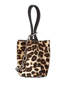 Roxy Mini Leather Calf Hair Bucket Bag, Animal Print