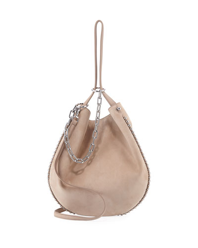 Roxy Refined Suede Hobo Bag, Cashmere