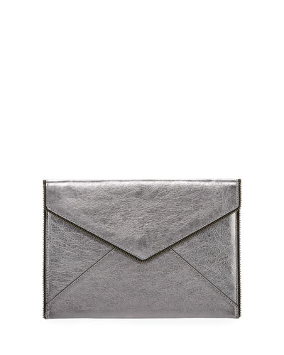 Leo Metallic Envelope Clutch Bag, Silver