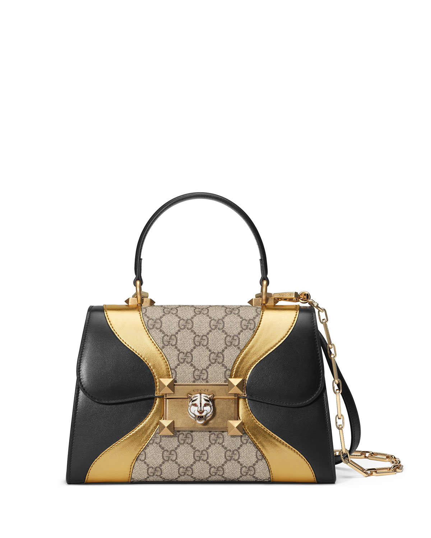 Osiride Small GG Supreme Top-Handle Bag with Golden Wave Detail