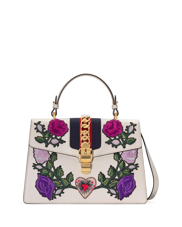 Sylvie Medium Floral Embroidered Leather Top-Handle Satchel Bag