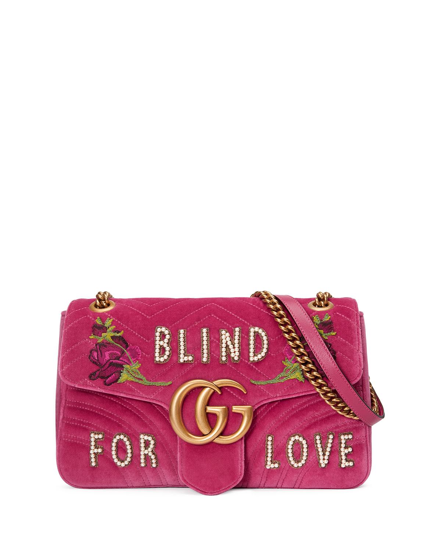GG Marmont Medium Embroidered Velvet Blind for Love Shoulder Bag