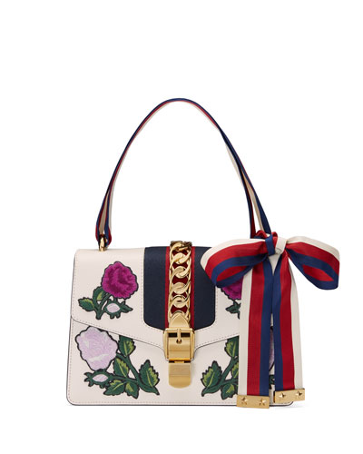 Sylvie Small Floral-Embroidered Shoulder Bag