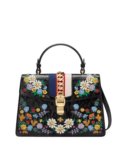 Sylvie Medium Floral Leather Top-Handle Satchel Bag