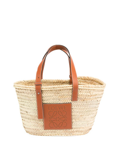 Small Raffia Basket Tote Bag
