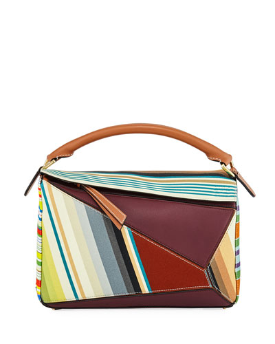 Puzzle Stripes Leather Satchel Bag