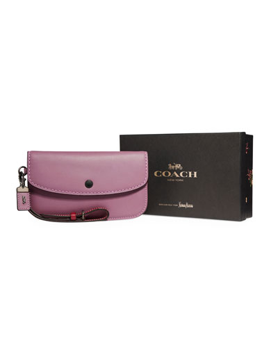 Two-Tone Leather Wristlet Clutch Bag