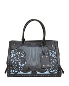Le Panier Denim and Leather Tote Bag