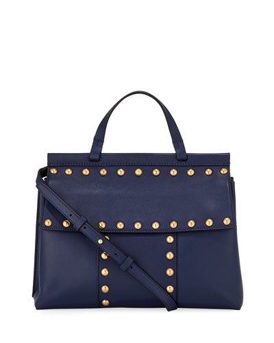 Block-T Studded Satchel Bag, Royal Navy