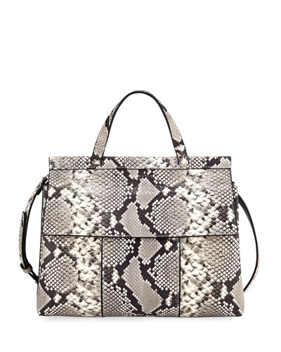 Block-T Embossed Satchel Bag, Snake