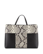 Block-T Embossed Triple Compartment Tote Bag, Snake Black