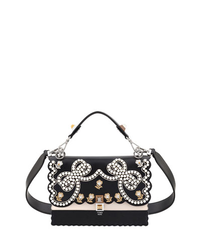 Kan I Bow Leather Scalloped Shoulder Bag