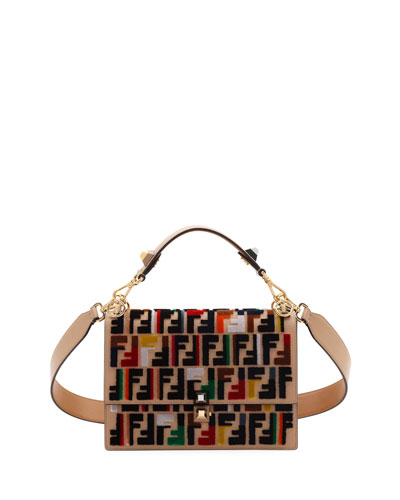 Kan I Calf Leather Shoulder Bag with FF Embroidery